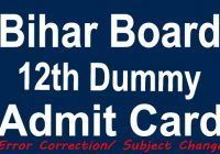 Bihar Board 12th Dummy Admit Card 2021
