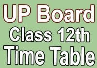 Up Board Class 12th Time Table 2021