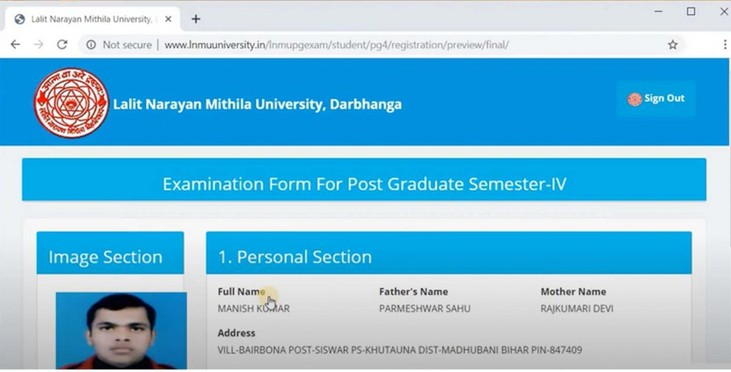 LNMU PG Final Semester Form
