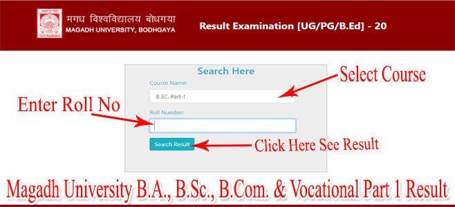 Magadh University BA BSc BCom & Vocational Part 1 Result