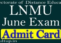 DDE LNMU Admit Card June 2020