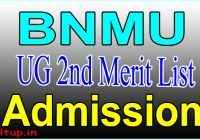 BNMU UG 2nd Merit List 2020