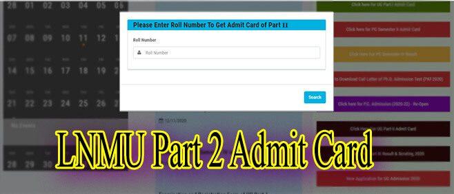LNMU Part 2 Admit Card