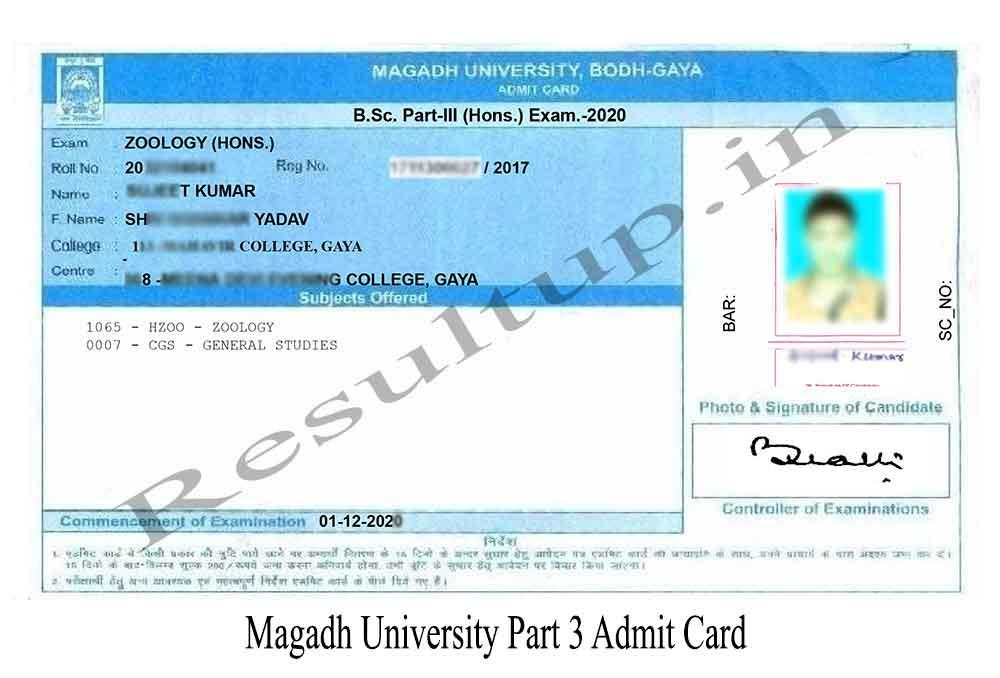 Magadh University Part 3rd Admit Card