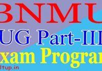 BNMU Part 3 Exam Date 2020