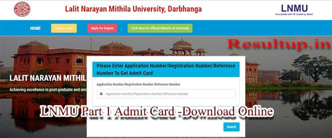 LNMU Part 1 Admit Card Download by Application Number