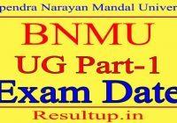BNMU Part 1 Exam Date 2021