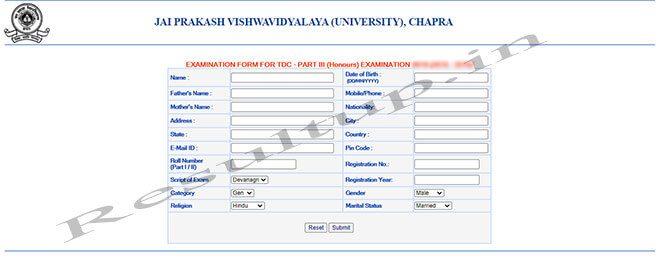 JPU TDC Part 3 Exam Form Online Apply